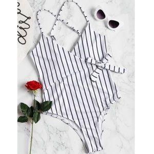 White Striped Swimsuit, One Piece Wrap Swimwear